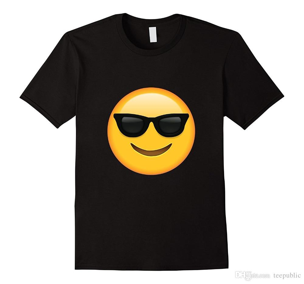 a04c34d0714 Online T ShirtsCrew Neck Short Glass Emoji Face T Shirt Emoticon ...