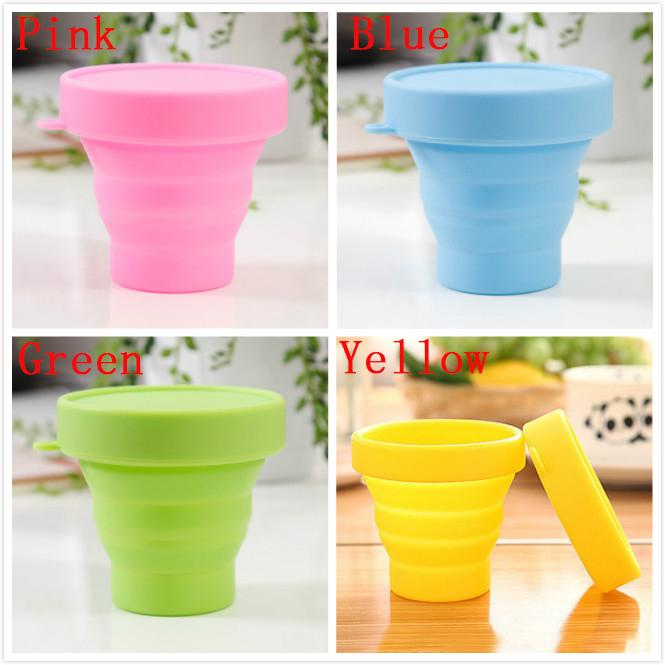 Silicone Folding Cup Portable New Fashion Travel Water Bottles Outdoor Camping Drinking Mugs With Lanyard Dustproof Cover