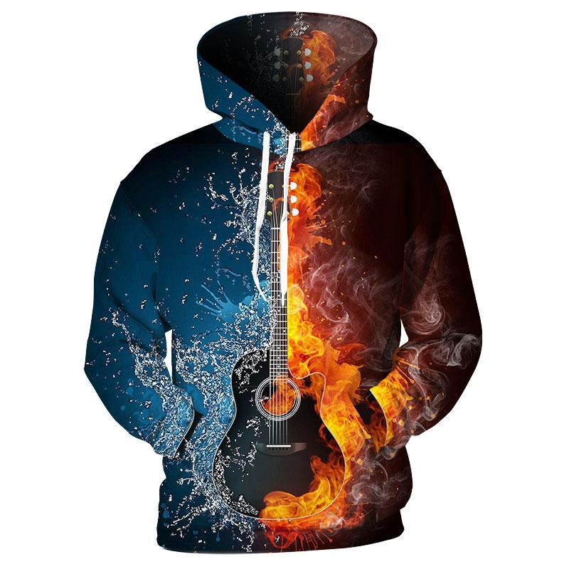 Cloudstyle 3D Hoodies Hombres Fire Ice Guitar 3D Print Sudadera con capucha de moda Streetwear Casual Jerseys Loose Thin Spring Tops