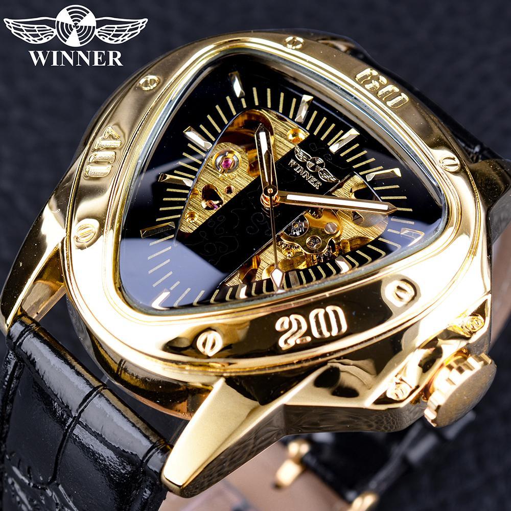 36bfe52db5a Compre Vencedor Triângulo Dourado Esqueleto Movimento Dentro Misteriosa  Transformadores Série Homens Relógio Mecânico Automático Top Marca De Luxo  De ...