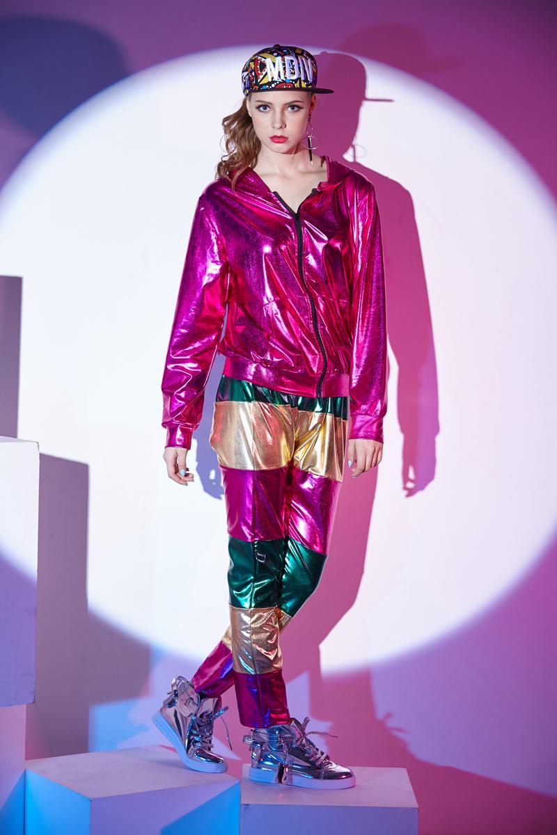 Primavera Otoño Mujeres Rosa Chaqueta de bombardero Rojo Escenario Performance Wear paillette feminina casaco Hip hop chaqueta de baile