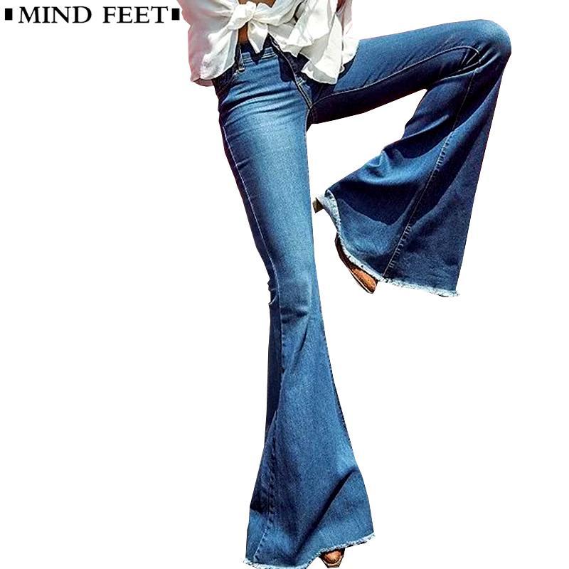 4d945a60b00ee Acheter MIND FEET Femmes Jeans Évasés Femme Casual Slim Stretch Mode Dames  Vintage Lavé Skinny Long Denim Pantalon Printemps Automne De $28.98 Du  Xiayuhe ...
