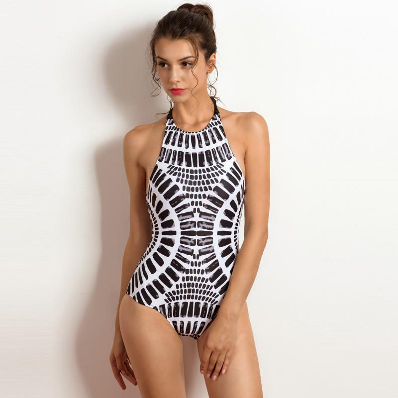 5f85b9175206c 2018 High Neck Sexy Swimwear Women One Piece Swimsuit Cross-back Halter  Lace-up Swim Wear Bathing Suits Bodysuit High Neck Sexy Swimwear Women One  Piece ...