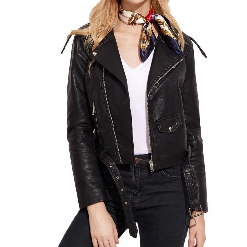 2017 Women Ladies Fashion Faux Leather Racing Style Biker Jacket