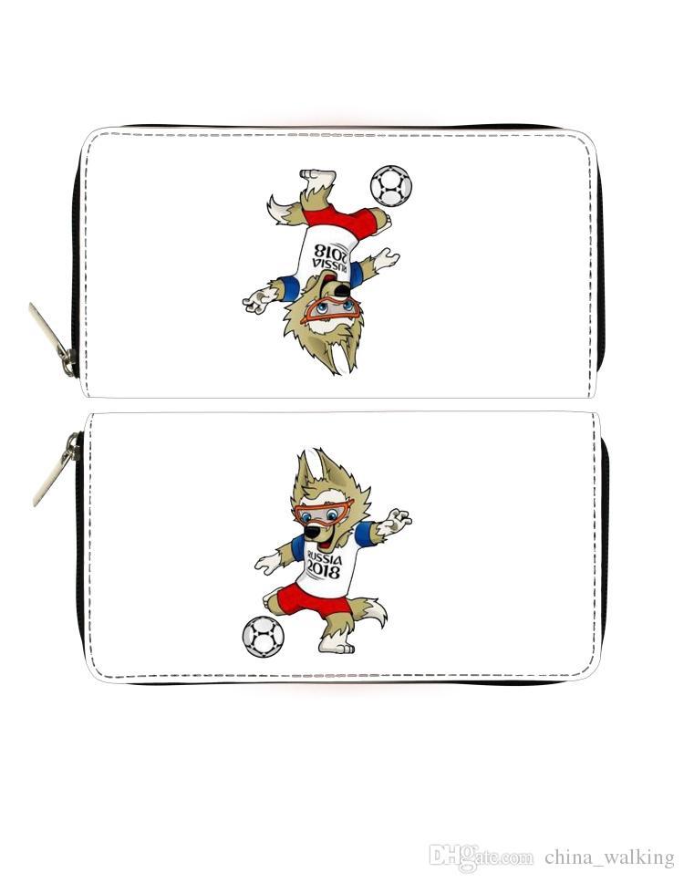 2018 bolsos de la mascota del fútbol hombres mujeres cartera monedero monedero titulares unisex regalo de dibujos animados para amigos