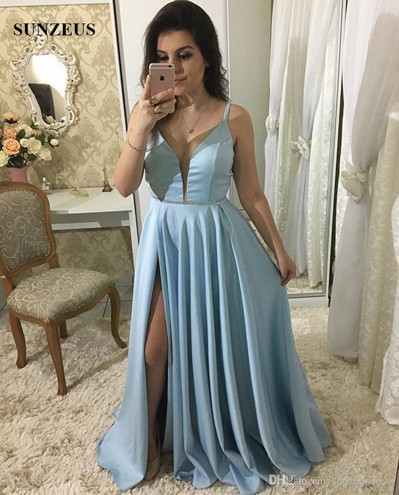 12c35749e Sexy Prom Dresses 2018 Deep V Neck Side Slit Long Party Dress Spaghetti  Straps Blue Satin Prom Gown Silver Prom Dress Stores That Sell Prom Dresses  From ...