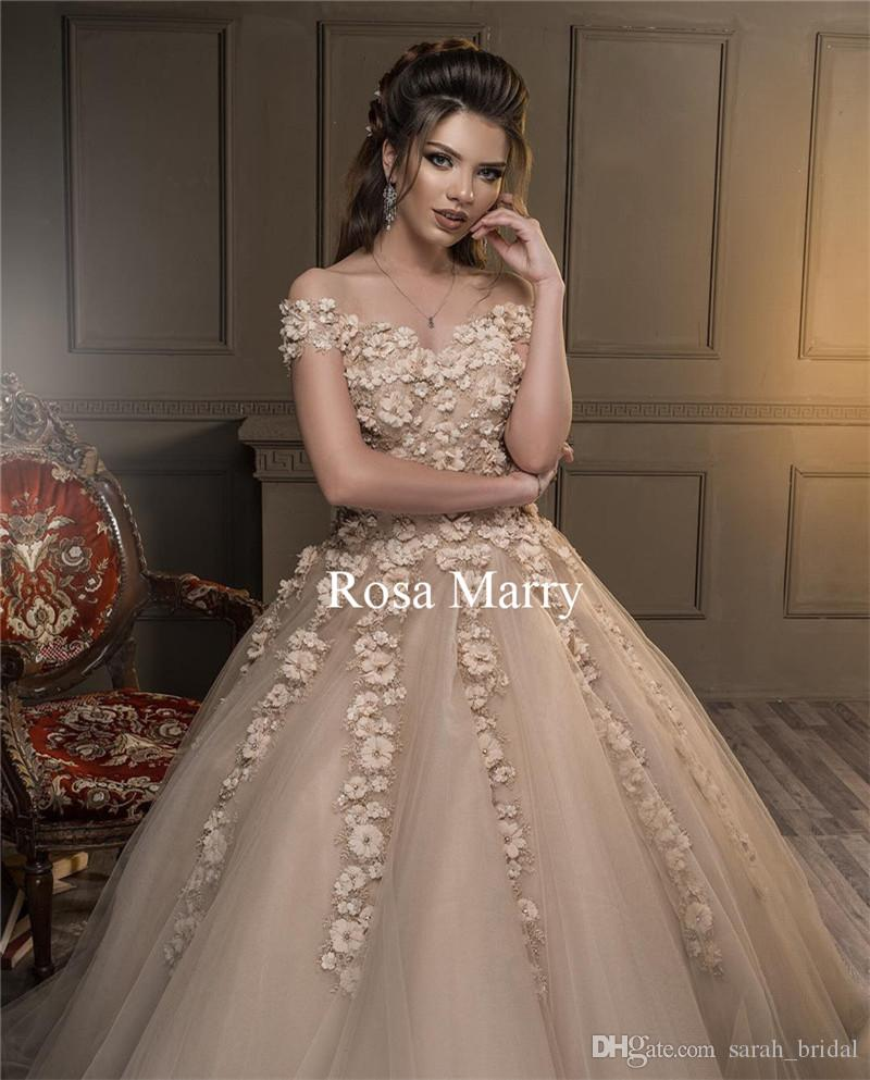 1fe1f521a3 Champagne 3D Floral Ball Gown Prom Dresses 2018 Off Shoulder Vintage Lace  Beaded Plus Size Pageant Quinceanera Formal Evening Party Gowns 2015 Prom  Dress ...