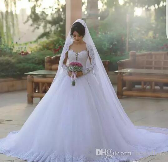 Gorgeous Long Sleeve Said Mhamad Wedding Dresses 2018 Arabic Dubai Vintage Lace Plus Size A-Line Court Train Vestido De Novia Custom