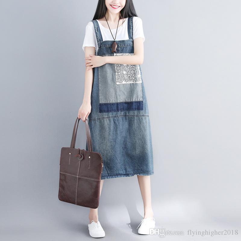 Acquista Vestito Da Jeans Di Grandi Dimensioni Abito Con Maniche Lunghe  Salopette Da Donna Vestito Di Jeans Vestito Lungo Con Maniche Lunghe In  Denim Con ... 5fa5b92ee6b