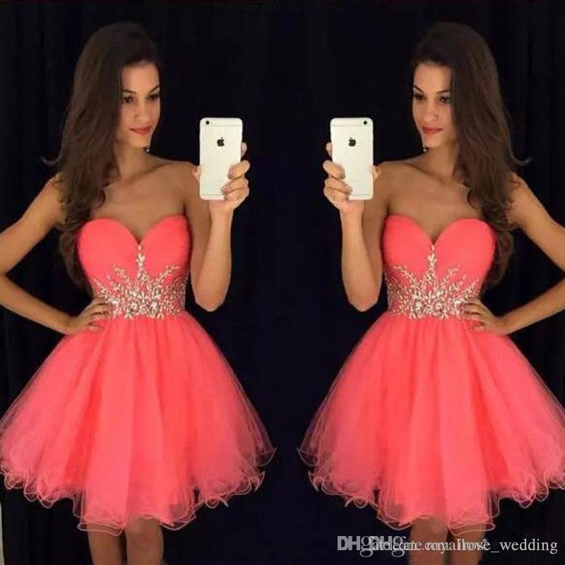 3a0f41a4f5 Sexy Red Sweetheart Mini Prom Dress A Line Gold Appliques Lace Up Back Short  Tulle Evening Formal Gowns Cute Knee Length Homecoming Dress Princess Prom  ...