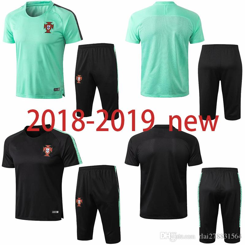 ad629bb86c6 2019 2018 World Cup Portugal Soccer Training Suit Short Sleeve 3/4 Pants 18  19 RONALDO PEPE F.COENTRAO J.MOUTINHO NANI CARVALHO Football Tracksui From  ...