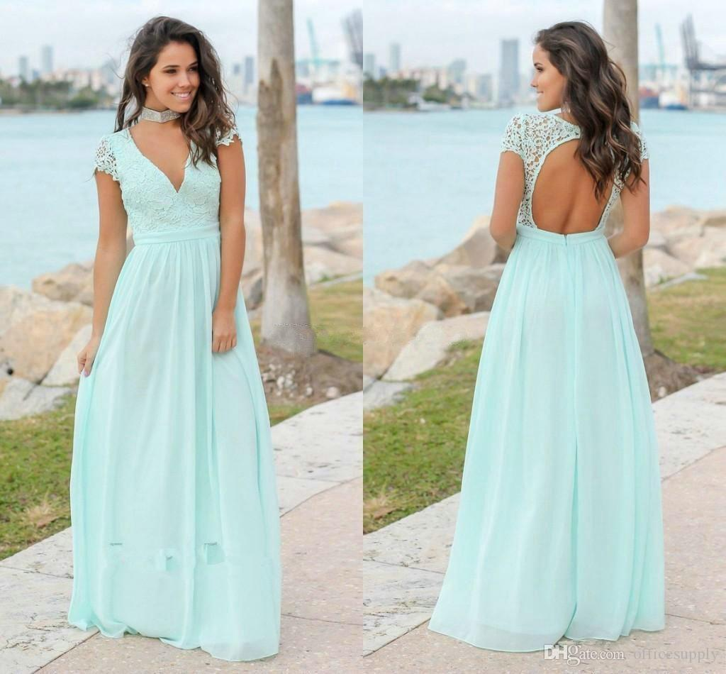 04fa7d403a4 Plus Size Country Mint Green Chiffon Bridesmaid Dresses Bohemian A Line Cap  Sleeves Sexy V Neck Backless Long Maid of Honor