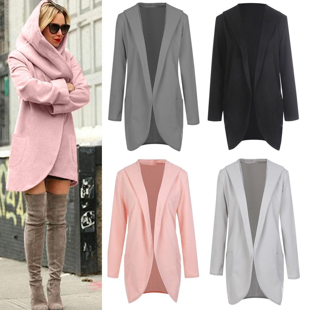 732da43b44c Women Loose Hooded Coat Long Sleeves Fashion New Casual Woolen Jacket Solid  Casual Autumn Coat Women Thin Top Outwear Online with  47.06 Piece on ...