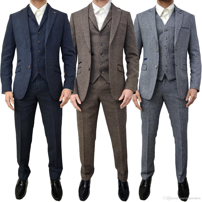 b6deee9a7e Men Cavani Designer Retro Tweed Herringbone Groom Slim Tailored Fit Suit  Groomsman Men's Wedding/Prom Suits Latest Coat Pant Vest Groom Tuxedos  Wedding ...
