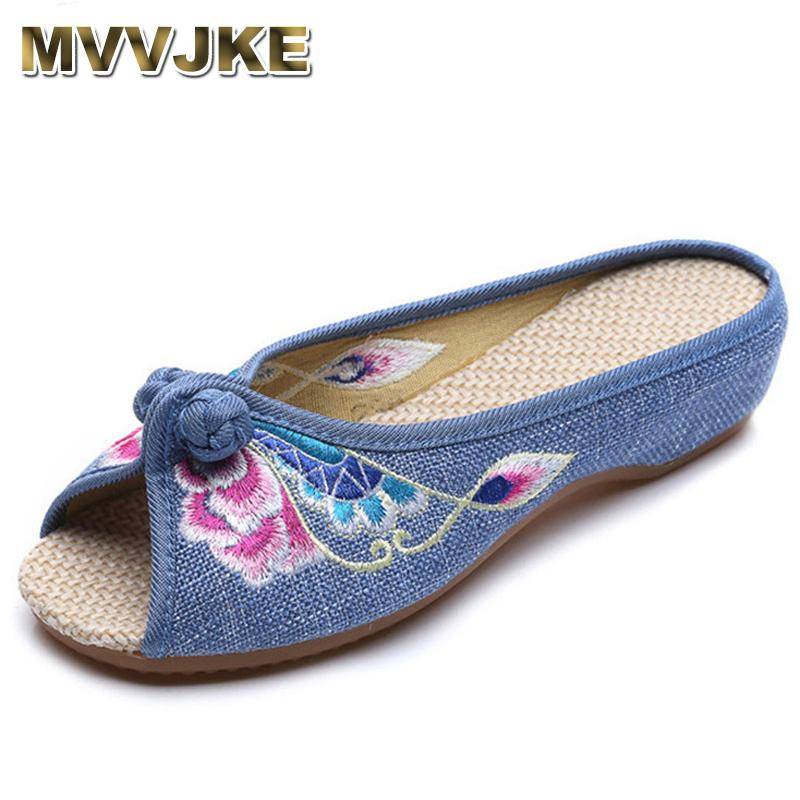 6b16b884b MVVJKE Embroidered Women Slippers Summer New Linen Chinese Canvas Old  BeiJing Flowers Sandals Soft Shoes Size 35 41E221 Buy Shoes Online Wedge  Boots From ...