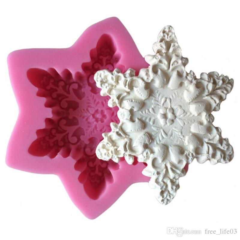 Hexagonal Star Snowflake Silicone Mould Cake Stencil Fondant Molds Kitchen Baking Kitchenware Tool Moule Silicone Molde Tarta