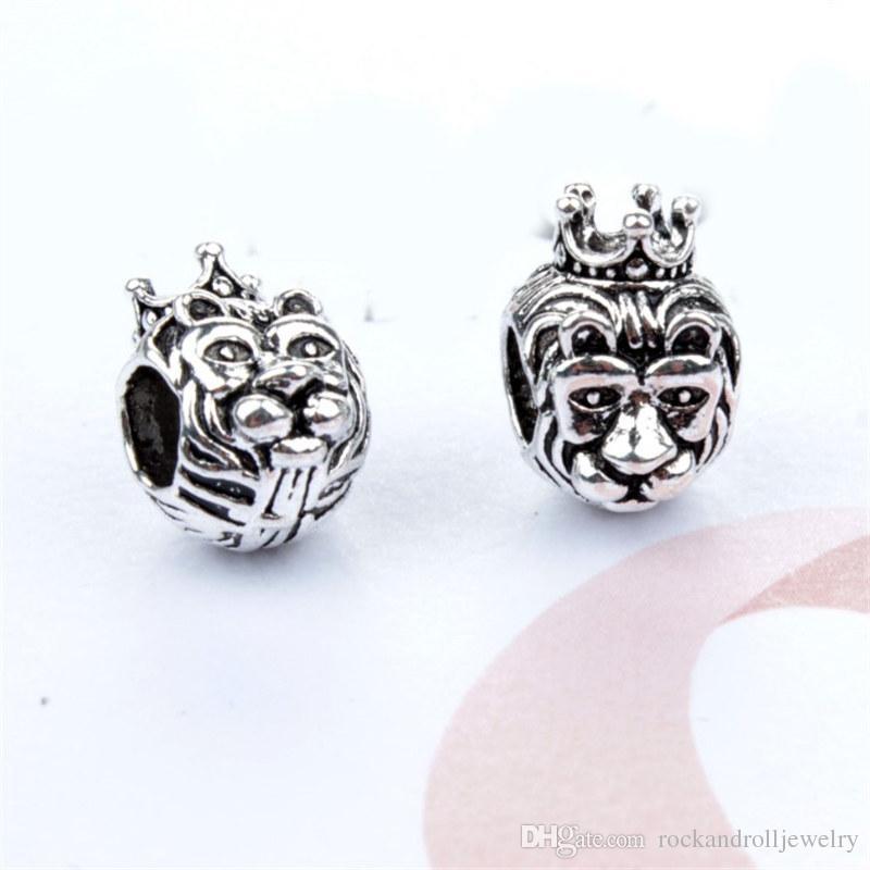 Promozione nuovo arrivo animale re leone fascino pandora bracciale catena del serpente o collana gioielli di moda branello allentato