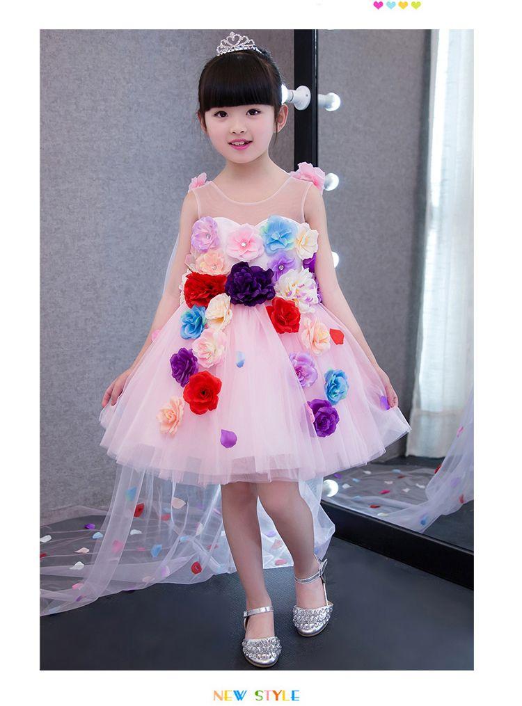 Sweet Pink Tulle Flowers Petal Train Flower Girl Dresses Princess Dresses Girl's Pageant Dresses Custom Made Size 2-6 8 10 12 14 KF403326