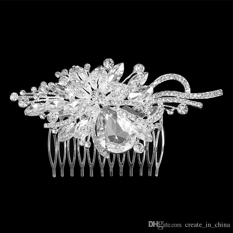 Frete grátis 2018 New Fashion Nupcial Do Casamento Tiaras Impressionantes Fino Pente De Noiva Acessórios De Jóias De Cristal Pérola Escova De Cabelo