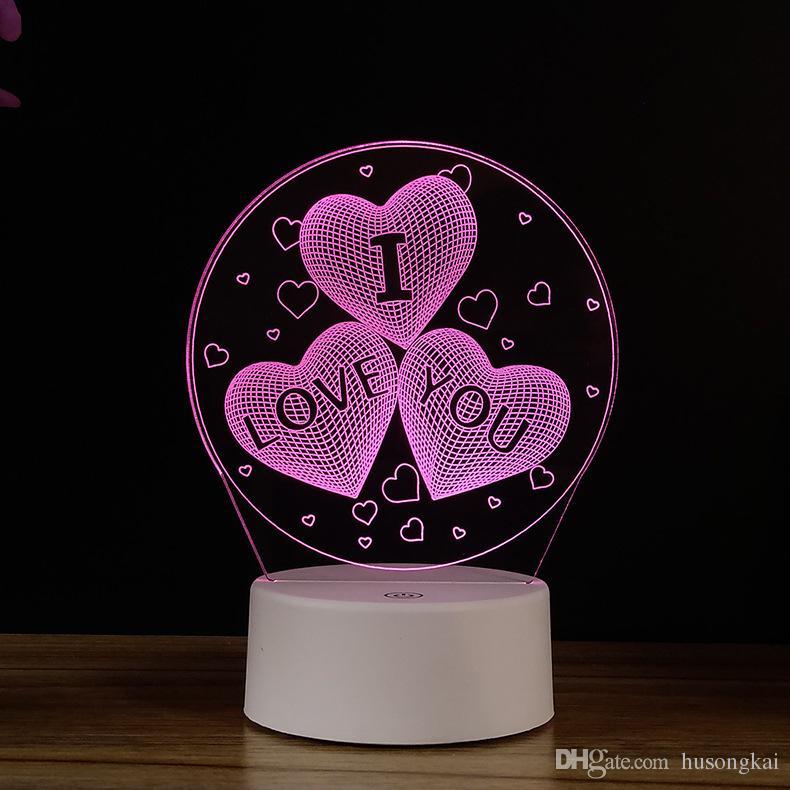 D'anniversaire Cœur Lampe Usb Colorée Touch Led De Petite À Nuit Cadeau Créatif Coeur 3d Puissance rxBdtshQCo