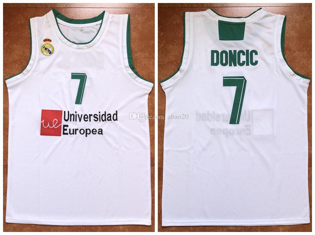 new product bf9c9 02077 #7 Luka Doncic Real Madrid Euroleague Retro Basketball Jersey Mens  Embroidery Stitched Custom any Number and name Jerseys