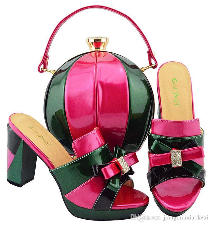 43b5c823eb082f Acheter Nouvelle Arrivée Couleur Fuchsia Femmes Africaines Assorties Chaussures  Italiennes Et Sac Ensemble Décoré Avec Strass Chaussures Italiennes Dames  Et ...