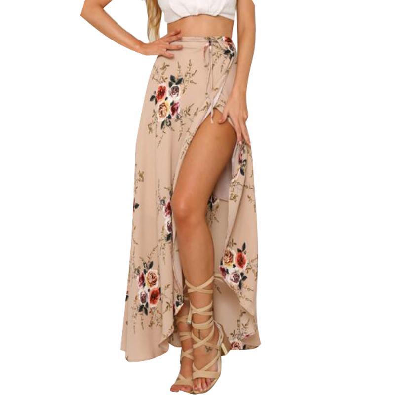 Compre Mujeres Blanco Falda Larga Irregular 2019 Verano Boho Vintage  Estampado Floral Hendidura Lateral Abrigo Falda Maxi Chica Faldas De Cintura  Para Mujer ... b9af938d987a