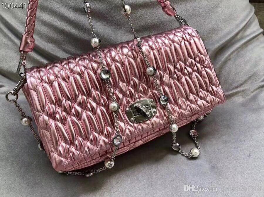 Neue europäische klassische Luxuswarenartdamenhandtasche einzelner Schulterbeutelketten-Dekoration reiner Farbrealer Schaffell, der weich bildet