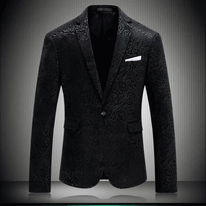 9ddfbec38c8 2019 New Stylish Black Casual Blazers For Men Slim Fit Blazer Fashion  Printed Wedding Dress Prom Party Suit Jacket Mens Stage Wear From Lucu