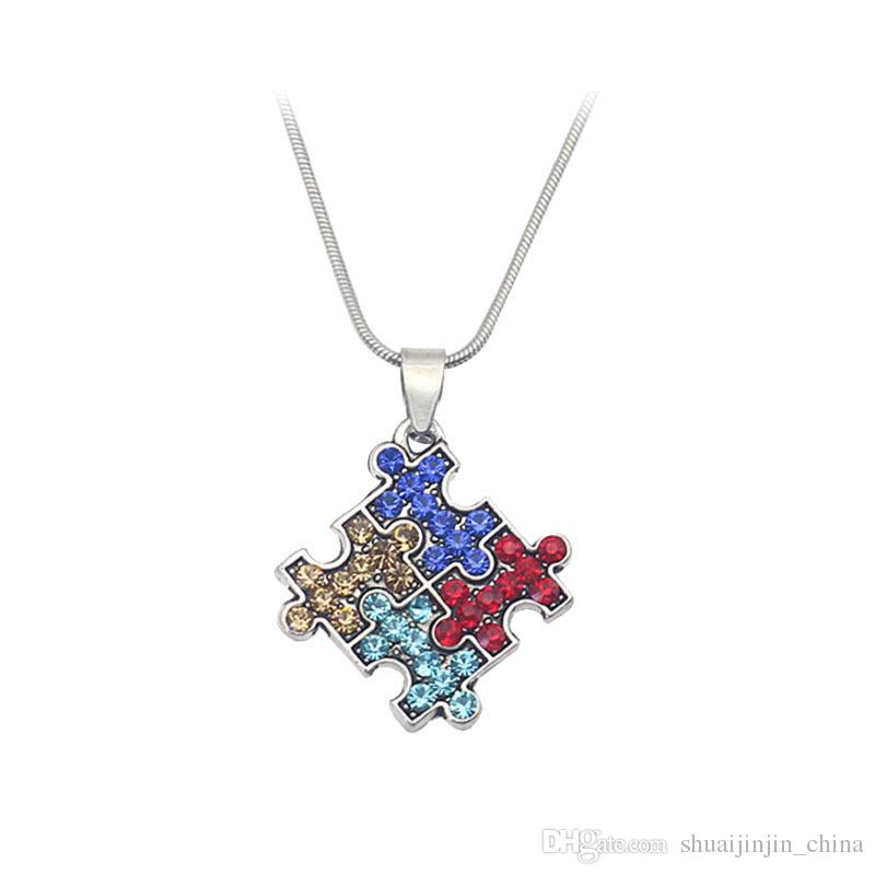Autism Awareness Jigsaw Necklace Multicolor Crystal Puzzle Piece Pendant Necklace Jewelry for kids Men Women YYA1212