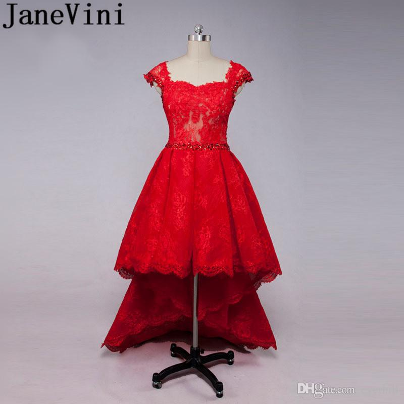 85653b72d2be93 JaneVini High Low Prom Dresses With Crystal Red Lace Short Front Long Back  Saudi Arabia Beaded Cap Sleeve Party Special Occasion Dresses Party Dress  Long ...