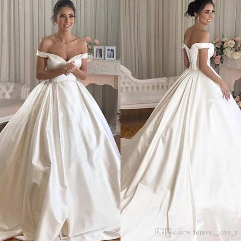 2ae865dc69c Discount 2019 Modern Off The Shoulder Satin Wedding Dresses Simple But  Elegant Long Formal Attractive Bridal Gowns With Court Train Custom Made  Black And ...