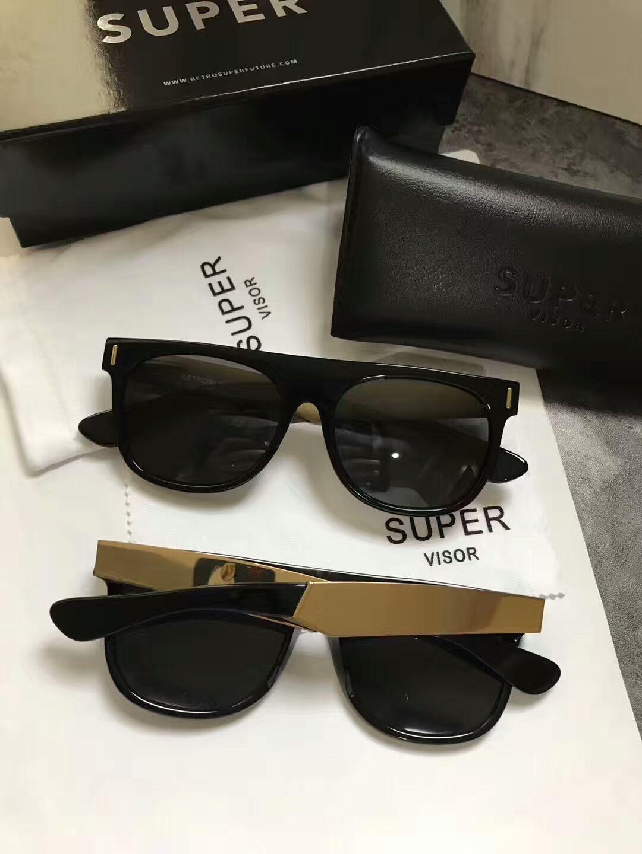 2b1d9194eb Super By Retrosuperfuture Flat Top Gold Black Sunglasses Mens Sonnenbrille  Eyewear Occhiali Da Sole Outdoor Summer Glasses New With Box Sunglasses  Online ...