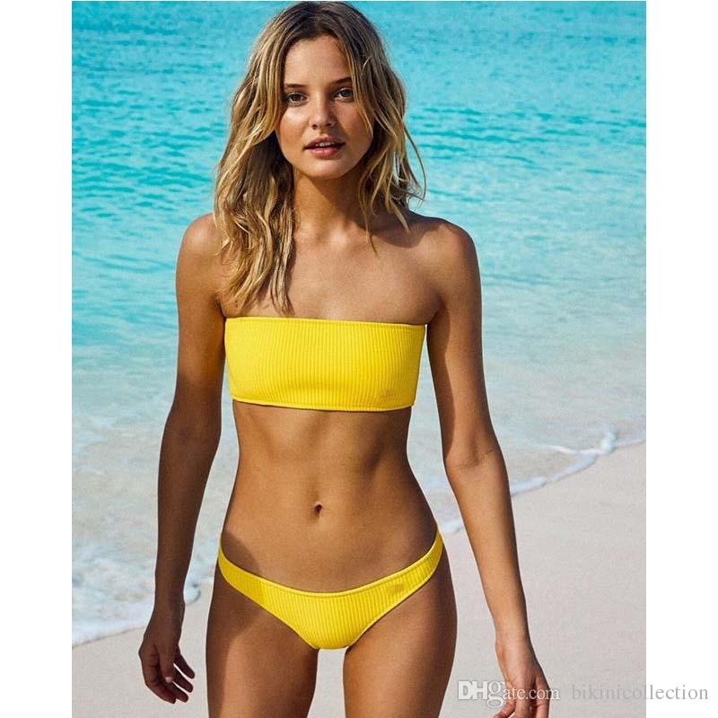 4c8f17a6b1 2019 Bandeau Bikini Set 2018 Strapless Low Waist Swimsuits Women'S  Beachwear High Cut Bathing Suit Sexy Swimwear From Bikinicollection, $10.89  | DHgate.Com
