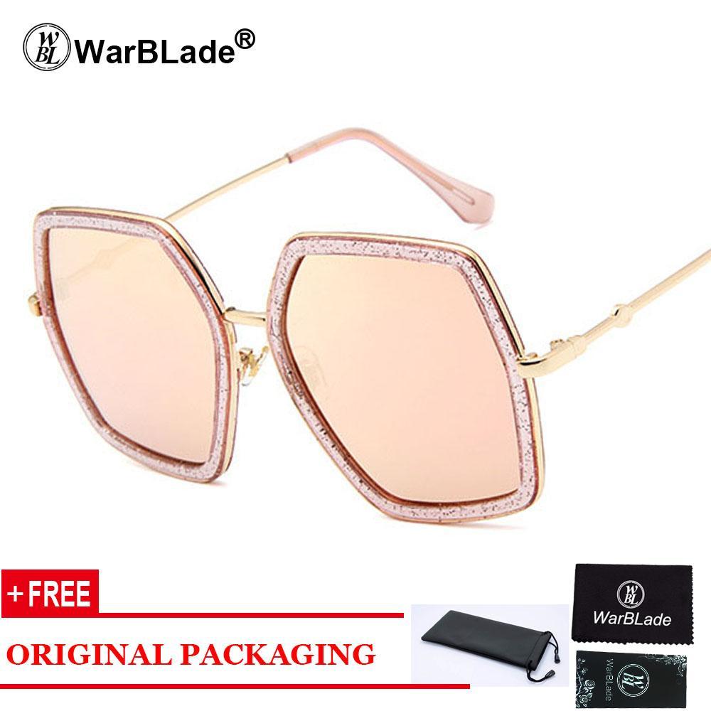 408ce448b5b 2018 Italy Luxury Brand Oversized Square Sunglasses Women Men Brand Designer  Retro Frame Sun Glasses For Female Green Red Oculos Eyewear Designer  Sunglasses ...