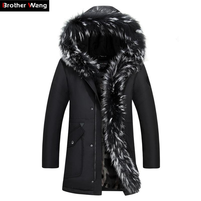 a39bf58c171 Brother Wang Brand 2017 Winter New Men s Long Down Jacket Hooded ...
