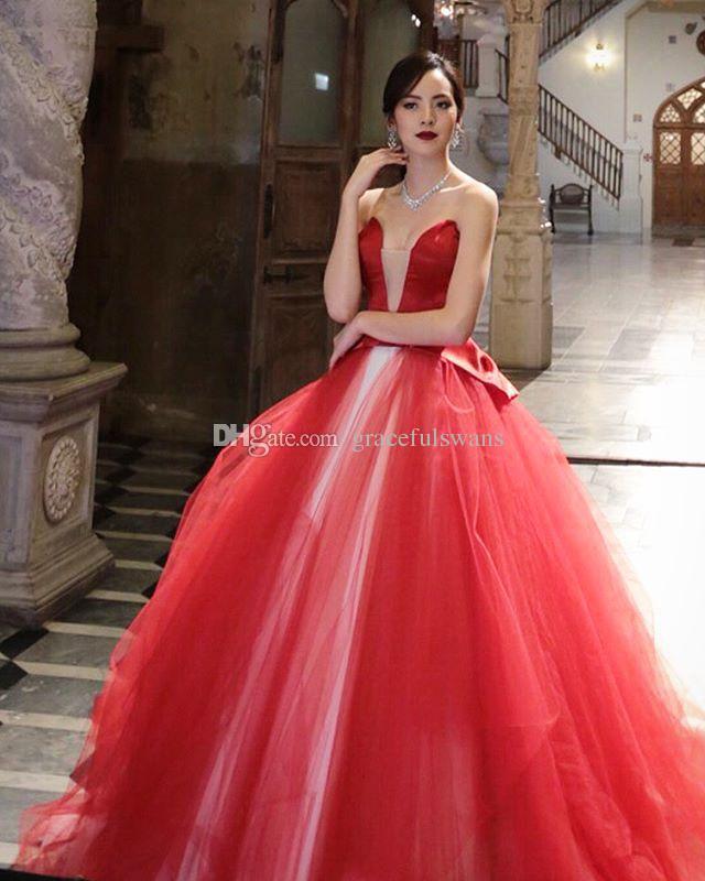 15627b2b9 Compre Vestido De Gala Vestidos De Noche Formales 2018 Mezcla De Color De  Tul Rojo Y Blanco Vestidos De Noche Elegantes Top De Satén Con Lazo Vestidos  De ...