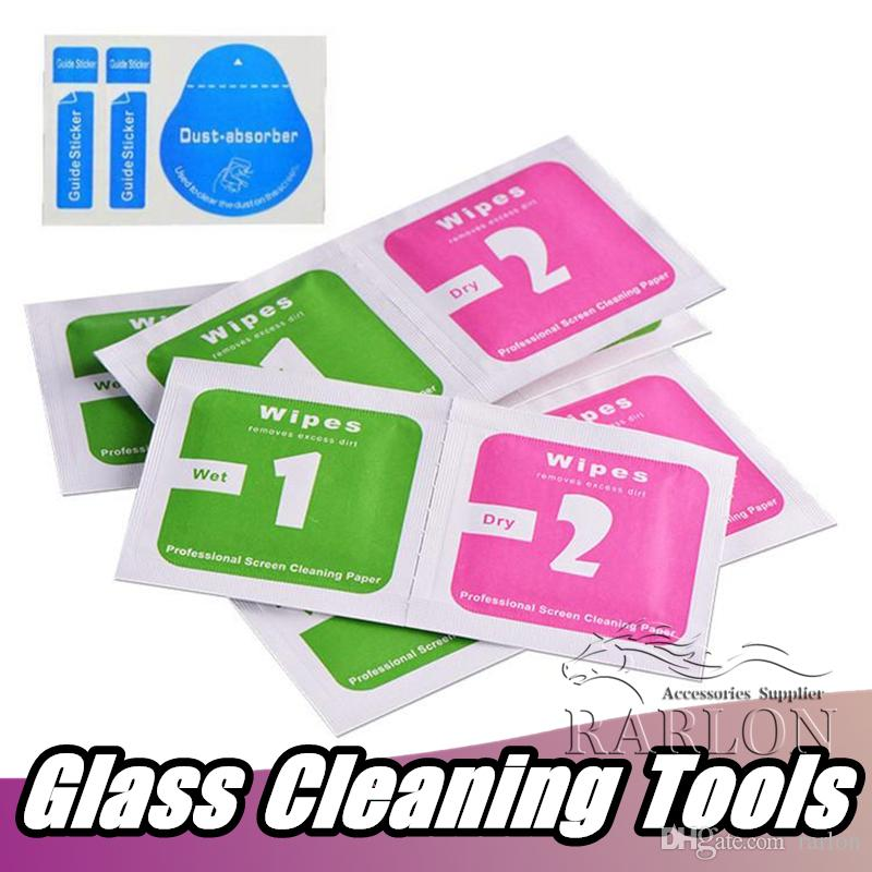 Cleaning Tools of Explosion Proof Tempered Glass Screen Protector Film Wet  & Dry Wipe and Dust Absorber For iphone Samsung Ipad Cell Phone