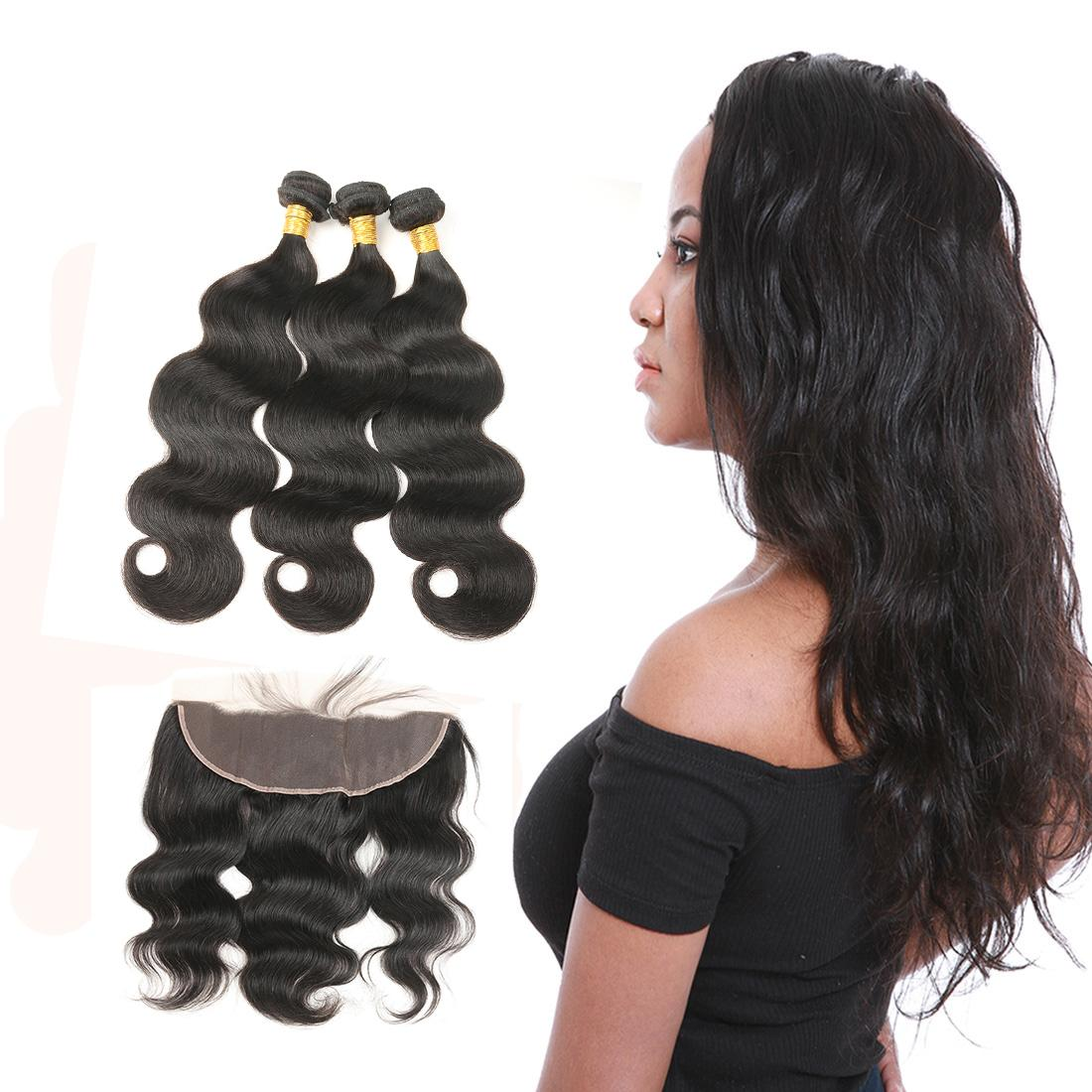 Brazilian Body Wave 3 Bundle Deals With Frontal Hair Weave 100