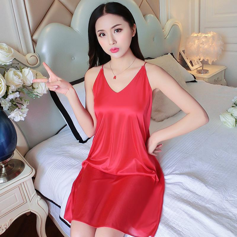 4dcf4916ceea 2019 New Black Blue Pink Summer Womens Underwear Lingerie Sleepwear Sexy  Nightgown Sling Soft Satin Nightwear Nightdress From Baimu
