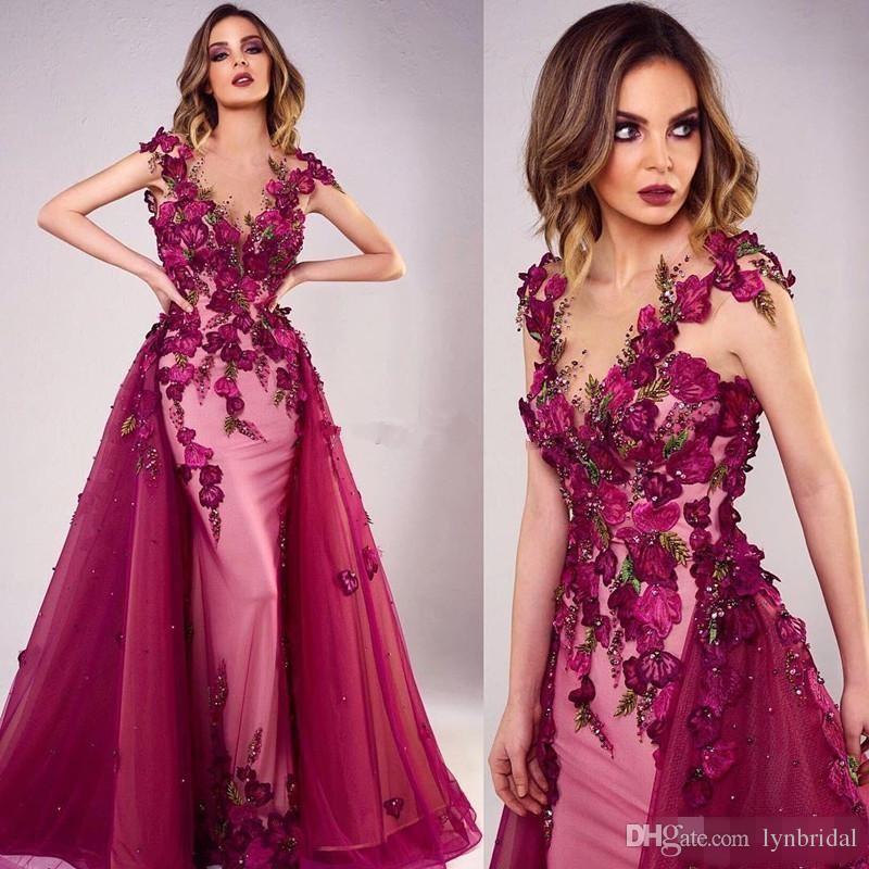 Compre 2018 Fucsia 3d Rose Sirena Floral Vestidos De Baile Con ...