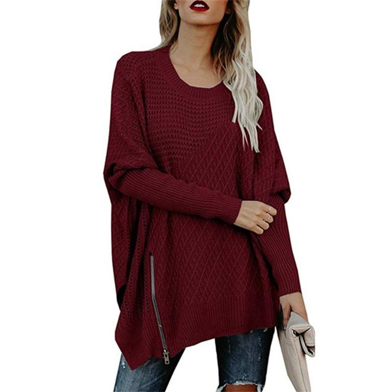 5d54ef06e05 2018 New Casual Ladies Sweater Is A Solid Color Bat-sleeve Zipper  Embellished Batwing Sleeve Fall Winter Style Over Size Online with   43.23 Piece on ...