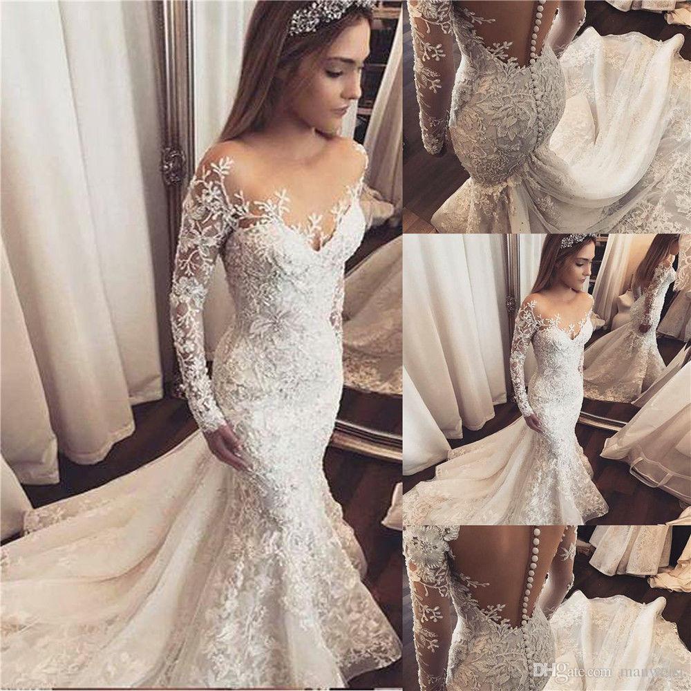 Elegant Long Sleeve Mermaid Wedding Dresses