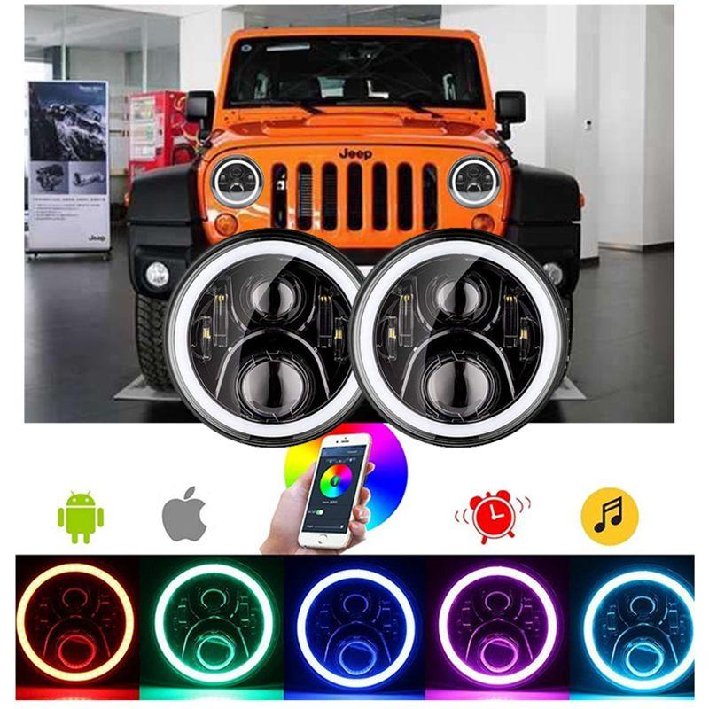 For 07-17 Jeep JK 7 Multi Car & Truck Parts Color RGB LED Projector Headlight Halo Headlight APP Parts & Accessories