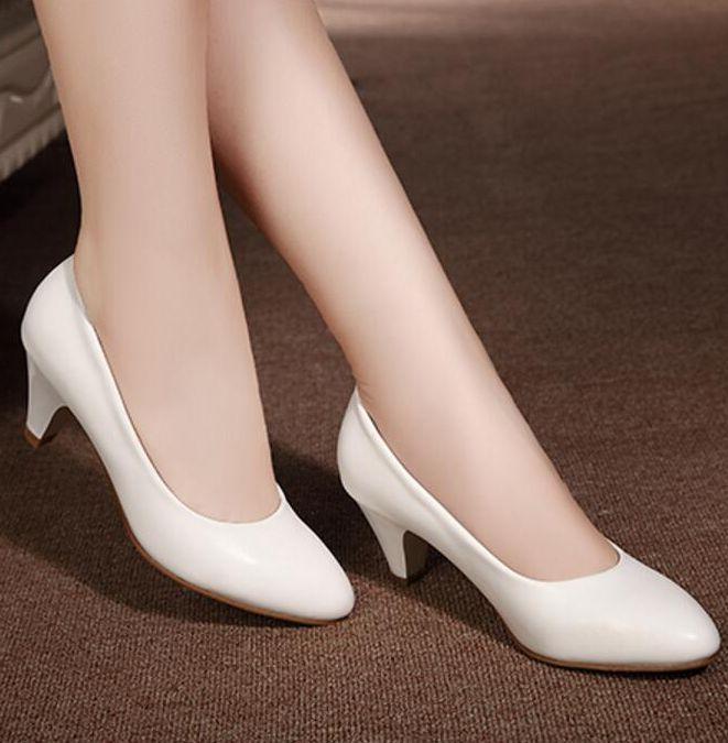 dd2c7f2be71acd Acheter Cuir Pleine Fleur En Cuir Véritable Talons Escarpins Chaussures  Femme SZ018 Noir Blanc Bureau Carrière Femmes Chaussures Pompes Classiques  Mariage ...