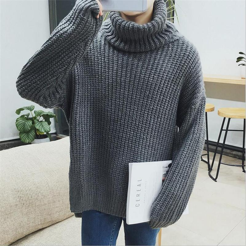 f346d3fb81b3 2019 Wholesale Mens Turtleneck Sweaters Coarse Wool Knitted Pullover Homme  Autumn Winter New Fashion Pull Man Casual Outwear Drop Shoulder S XL From  ...