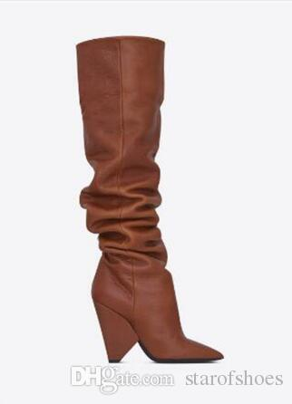 2018 Newest Fashion Women Pointed Toe Black Brown Leather Over Knee Spike Heel Boots Folded Long High Heel Boots Sexy Boots