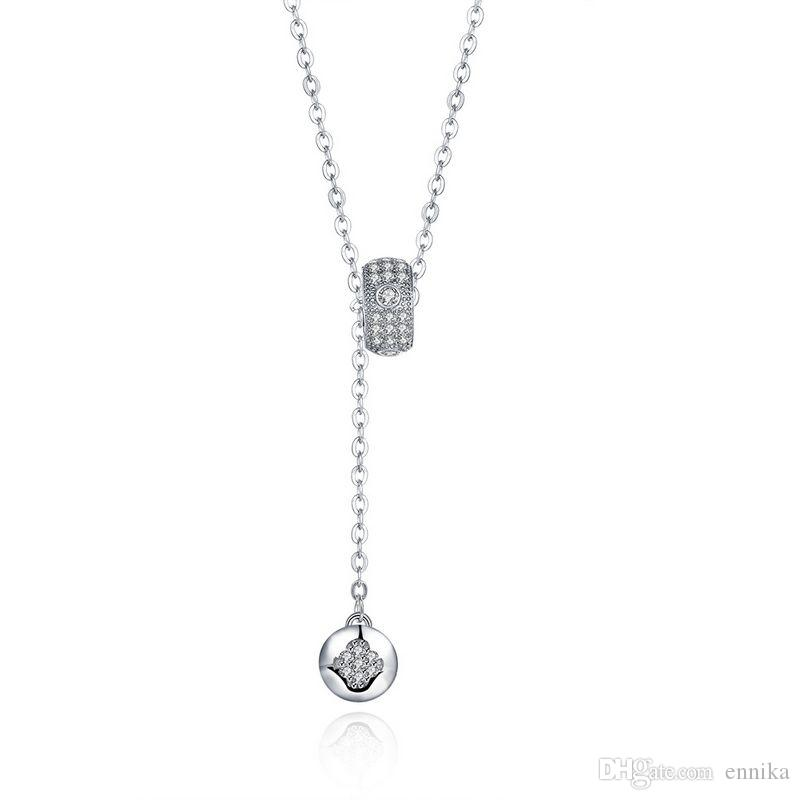 Sterling Silver 925 Necklace Lady Party Jewelry Pure Silver Beads Button Zircon Pendant Necklace n081