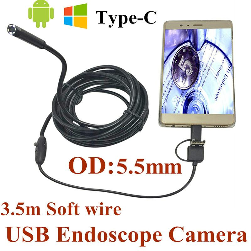 Newest 5.5mm 3 in 1 USB Endoscope Camera IP66 Waterproof Snake Soft Wire Tube Inspection Android OTG Type-C USB Borescope Camera