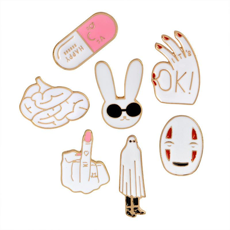 Brain Middle Finger OK Hand Gesture Rabbit Robe No Face Man Pin Set Badges  Hard Enamel Pins Brooch Sweater Backpack Accessories